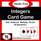 Integers Free - Add, Subtract, Multiply, Divide Integers  48 Questions GAME
