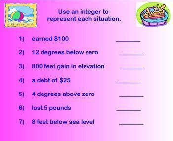 Integers Add Subtract Multiply Divide Word Problems Smartboard Lesson