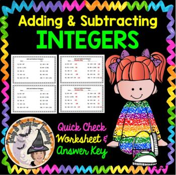 Integers Add and Subtract Practice Worksheet Adding & Subt