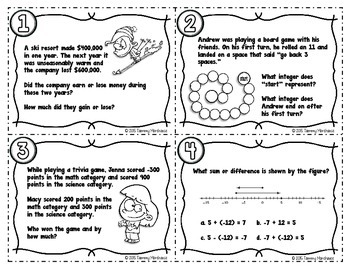 Integers - Adding & Subtracting Task Cards
