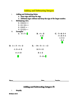 Integers:  Adding and Subtracting