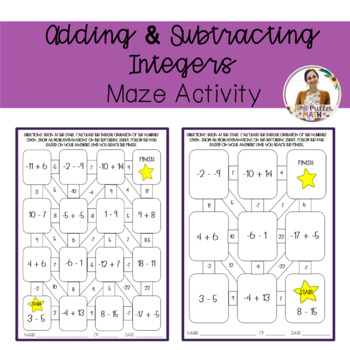 adding and subtracting integers maze activity by sixth grade teachers. Black Bedroom Furniture Sets. Home Design Ideas