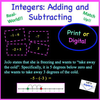 Integers: Adding and Subtracting (Cut, Match, & Glue)