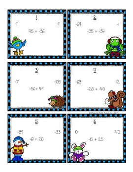 Integers: Adding and Subtracting Poke Cards