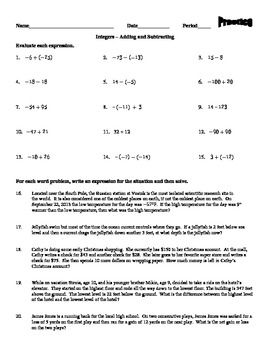 Integers - Adding and Subtracting (Quiz and Practice Worksheet)