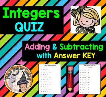 Integers Adding and Subtracting QUIZ with Answer KEY Add S