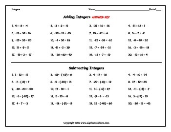 Integers: Adding and Subtracting Single 1