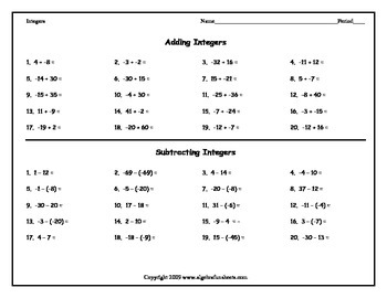 Adding and Subtracting Integers: Riddle