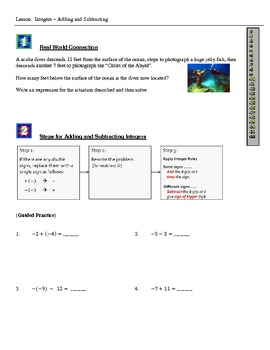 Integers - Adding and Subtracting (Student Notes and Worksheets)