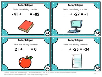 Adding Integers Task Cards ( 2 Digit ), 6th or 7th Grade Math Review