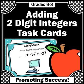 Adding 2 Digit Integers Task Cards 7th Grade Common Core Math