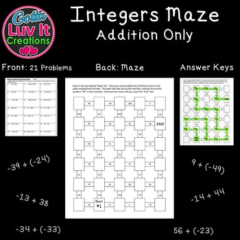 Integers : Integer Operations Adding Integers 2 Math Mazes