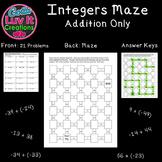 Adding Integers 2 Math Mazes Integer Operations