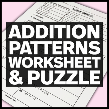 Integers:  Addition Patterns and Addition/Subtraction Practice Problems