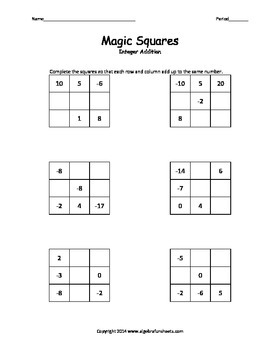Magic Square Integers Worksheets & Teaching Resources | TpT