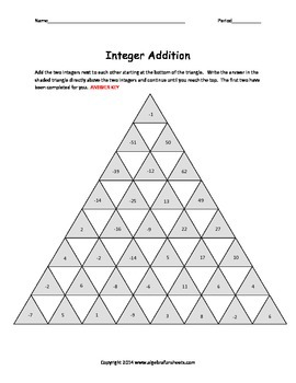 Adding Integers: Race to the Top Pyramid Pyramid
