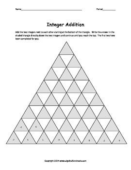 Integers:  Addition Single 3