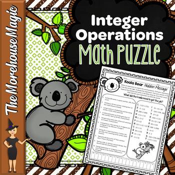 Integers Addition & Subtraction Math Puzzle - Koalas!