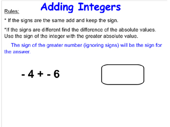 Integers - Addition, Subtraction, Multiplication, and Division 7.NS.1