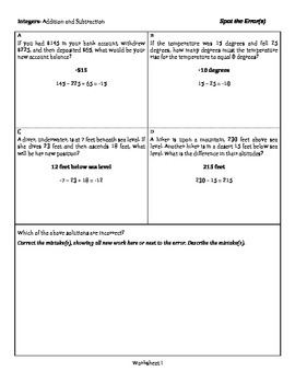 Integers: Addition and Subtraction - Unit Activities