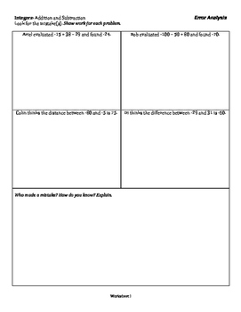Integers: Addition and Subtraction - Error Analysis - Tiered