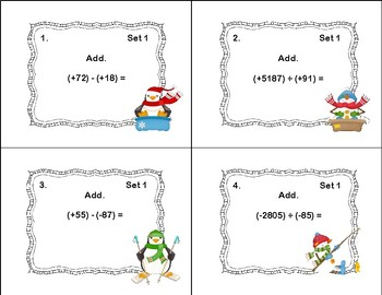 Integers-All Four Operations-48 Task Cards-Winter Theme