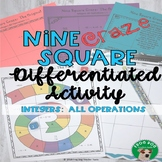 Integers:  All Operations Nine Square Craze