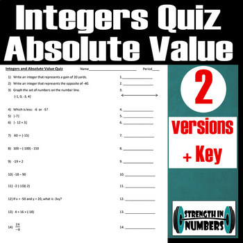 Integers And Absolute Value Quiz/Test- 2 versions + key
