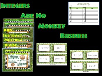 """Integers Are No Monkey Business""- Integer Bulletin Board with Bonus Task Cards"