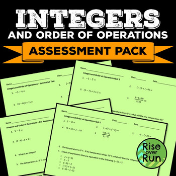 Integers Assessments, Quizzes and Tests