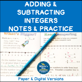 Integers Basics; Adding and Subtracting Integers Foldable Notes and Practice