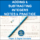 Integers Basics and Adding and Subtracting Integers Folding Notes and Practice