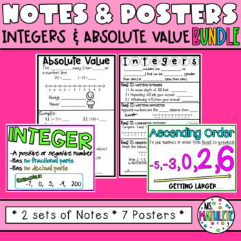 Integers Basics and Absolute Value Notes and Posters Bundle