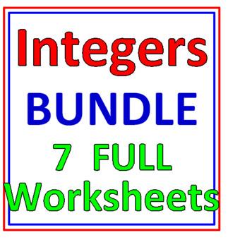 Integers Bundle 7 Worksheets (3 items in this Set)