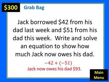 Integers Classroom Jeopardy Game