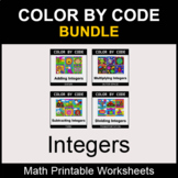 Integers - Color by Code - Math Coloring Worksheets - BUNDLE