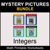 Integers - Color by Number - Math Mystery Pictures - BUNDLE