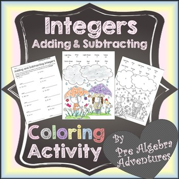 Integers Coloring Activity {Adding and Subtracting Integers Positive Negative}