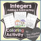 Adding Subtracting Integers Activity {Integers Coloring Activity} {Worksheet}