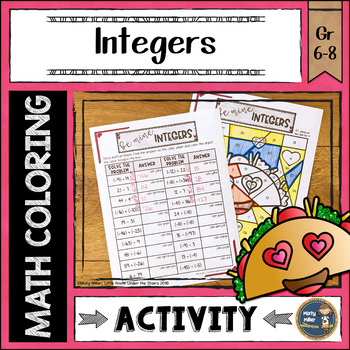 Integers Coloring with Math Valentine's Day Theme