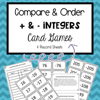 Integers Comparing and Ordering Games