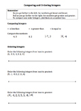 Integers (Comparing and Ordering): Notes, Worksheet, Assessment