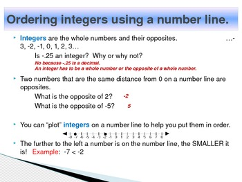 Integers - Comparing and Ordering (PowerPoint)