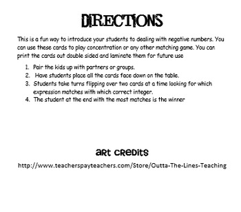 Integers Concentration Game