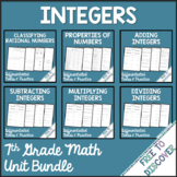 Integers Differentiated Notes and Practice Bundle | Distan