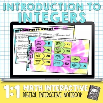 Integers Digital Interactive Math Notebook