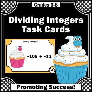 Dividing Integers Task Cards, 7th Grade Math Review Games SCOOT