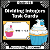 Dividing Integers Task Cards, 6th Grade Math Review Game SCOOT