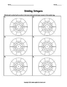 Integers: Division Wheel