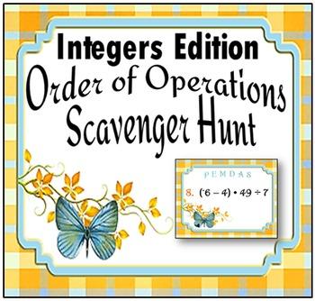 Integers Edition!  Order of Operations Scavenger Hunt